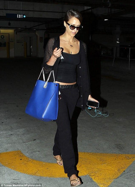 Stretch Knit Cami with Mesh Trim in Black - Subtle Luxury worn by Jessica Alba