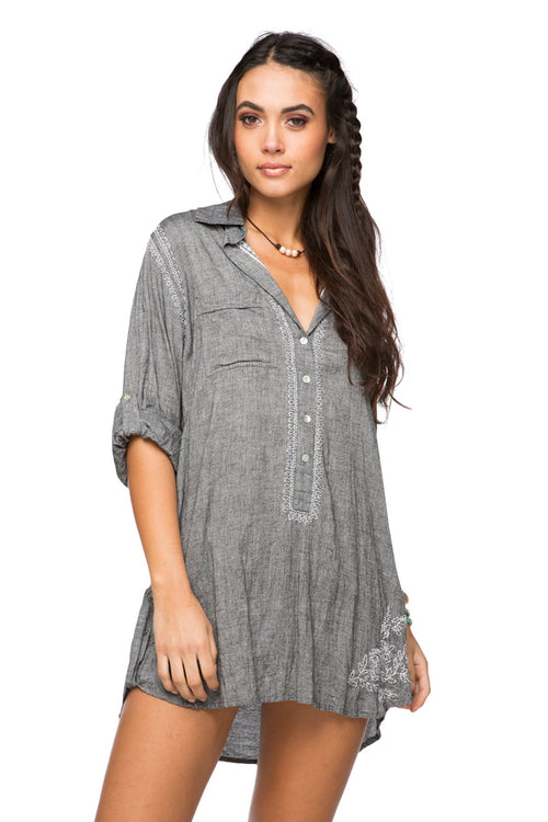Boyfriend shirt in Chambray - Charcoal - Subtle Luxury