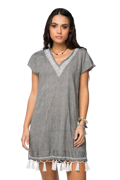 Fringe Tassel Dress in Solid Chambray - Charcoal - Subtle Luxury