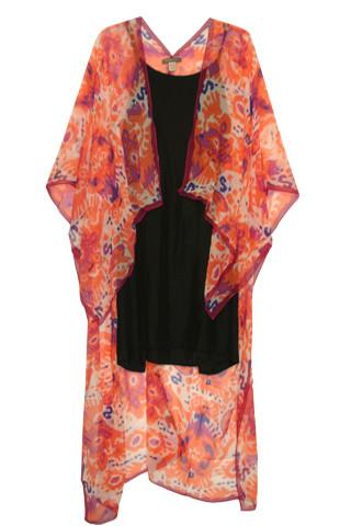 Long Silk Kimono Wrap in Coronando Stamp-Berry/Melon