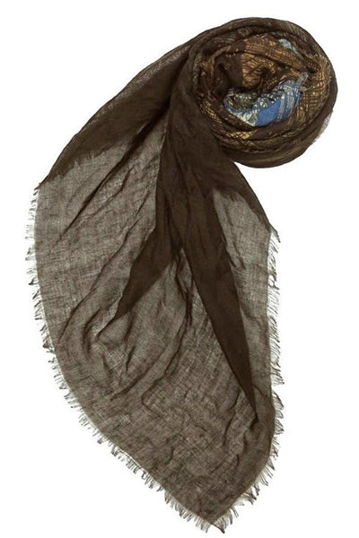 Digital Trees Printed Scarf in Brown/Blue - Subtle Luxury