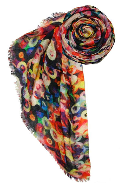 Modal/Cashmere Digitally Printed Spaceship Scarf in Multi - Subtle Luxury