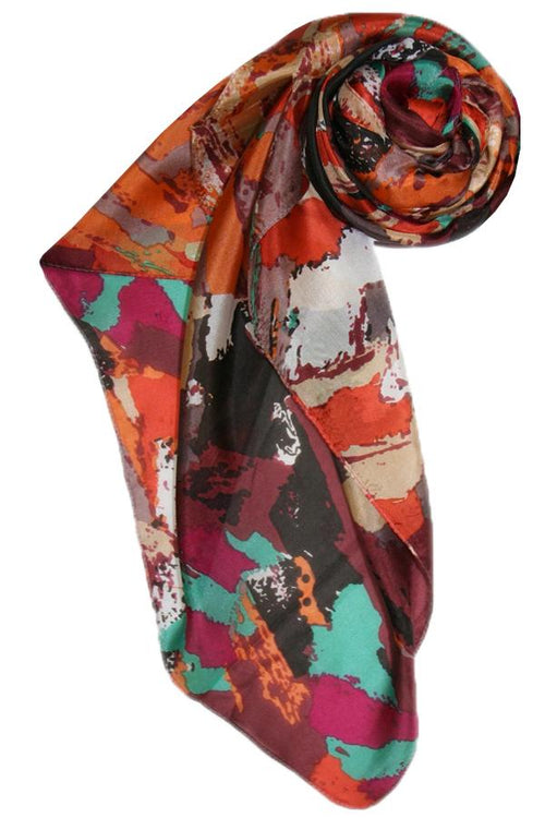 Spun -Different Strokes Print Silk Scarf in Orange - Subtle Luxury