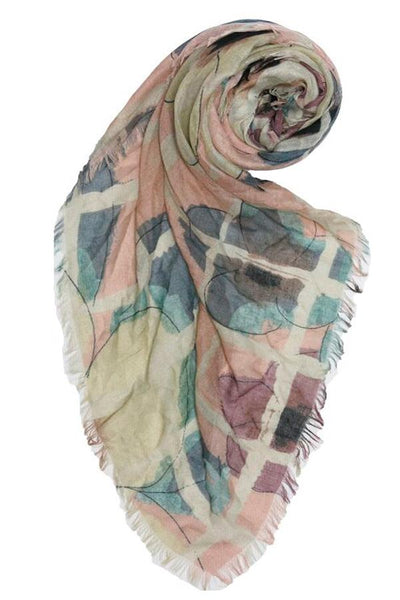 Watercolor Plaid Printed Scarf in Light Pink