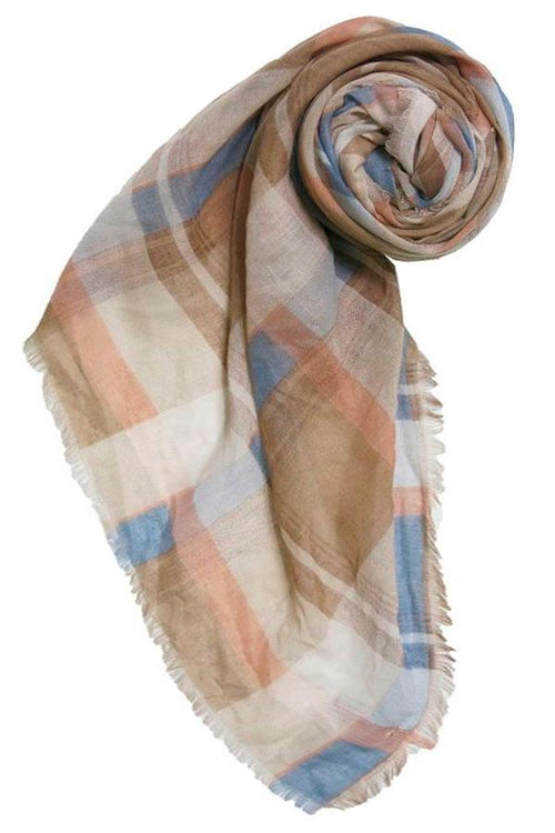 Fireside Plaid Printed Scarf in Tan - Subtle Luxury