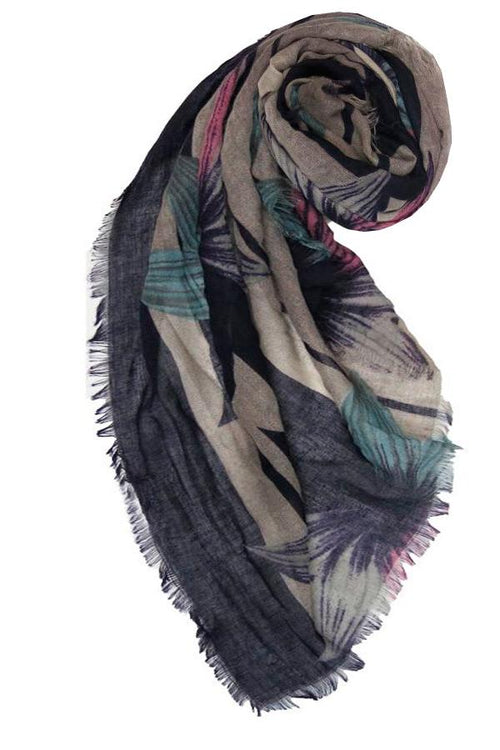 Hibiscus Blooms Printed Scarf in Purple - Subtle Luxury