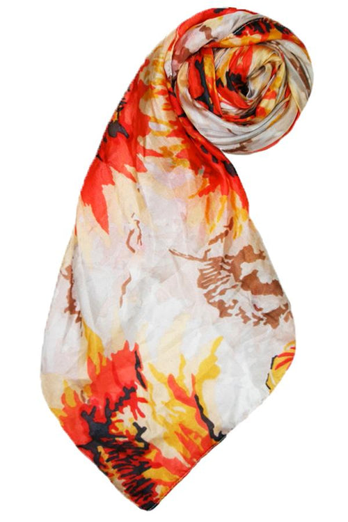 Sunflower Silk Print Scarf in Ivory - Subtle Luxury