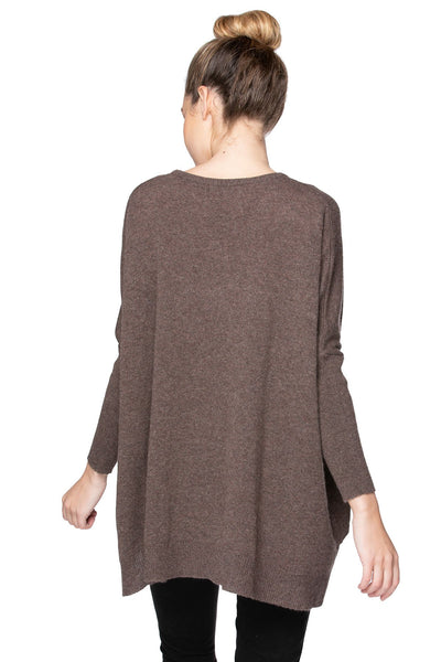 100% Cashmere Loose and Easy Crew Swing High Low Sweater with Drop Shoulder - Subtle Luxury