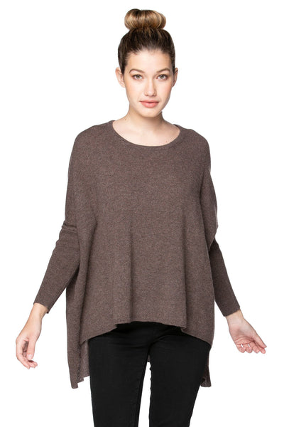 100% Cashmere Loose & Easy Crew Sweater in Ermine