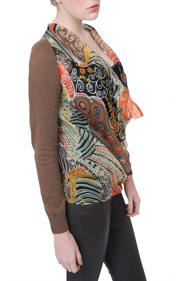 Sale - Cotton Cashmere Drape Front Blouse/Sweater with Printed Silk