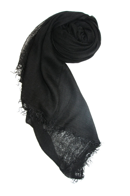 Four Way Fray Scarf in Black - Subtle Luxury