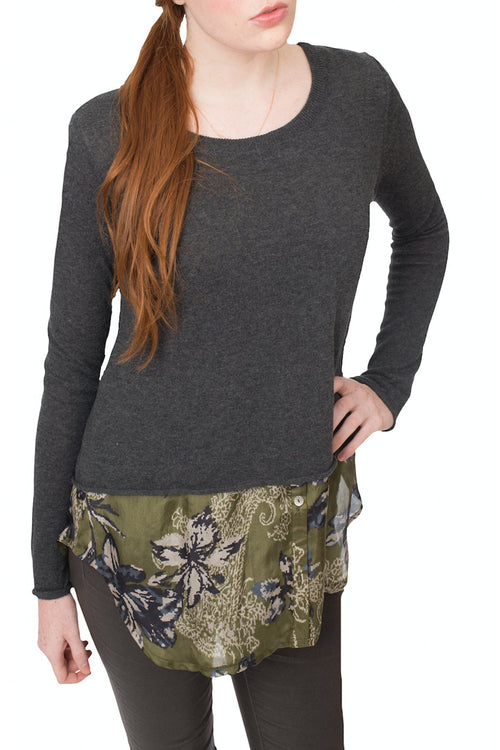 Sale - Cotton Cashmere Crew w/Split Back and Layered Silk
