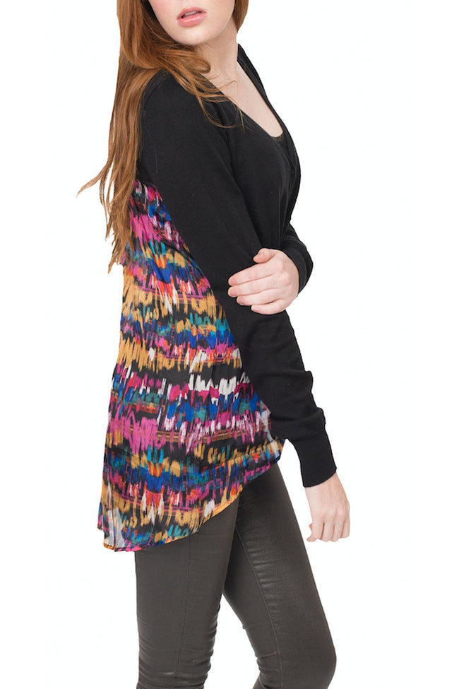 Sale Cotton Cashmere Sweater Knit Mixed Media with Printed Silk