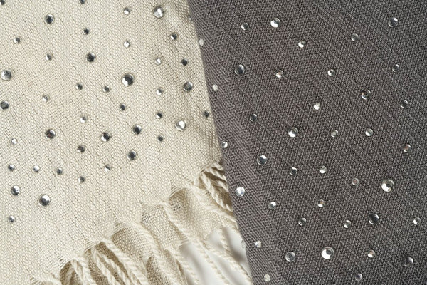 Sparkle Crystal  Scarf in Ivory