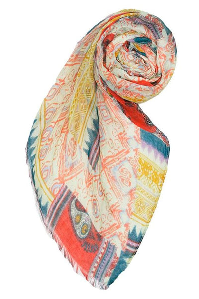 Native Paisley Printed Scarf in Multi - Subtle Luxury