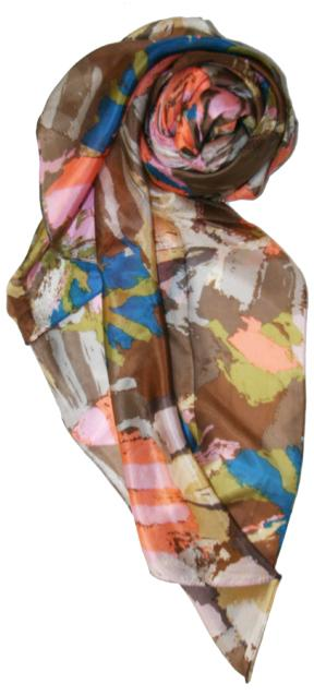 Different Strokes Print Silk Scarf