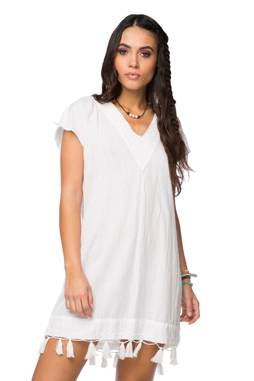 Fringe Tassel Dress in Solid Chambray - White - Subtle Luxury