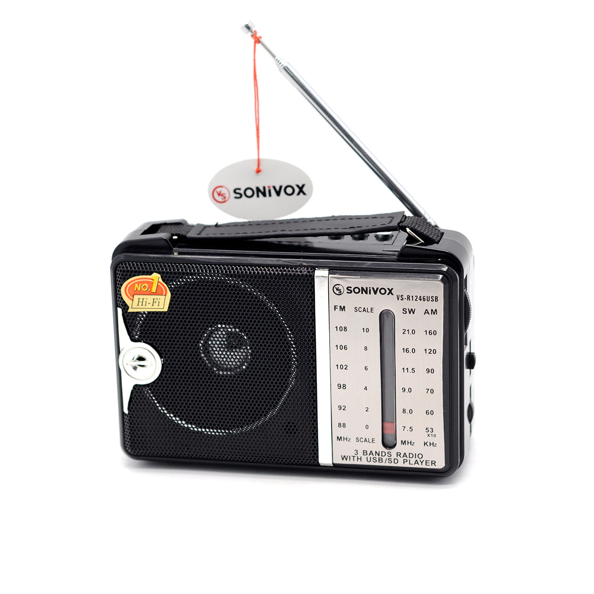 Radio Portátil de AM/FM MP3 VS-R1246 USB Negro