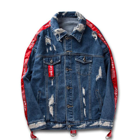 'ROCKER' DISTRESSED DENIM JACKET