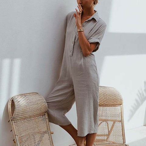 GRACEFUL HEART LINEN JUMPSUIT