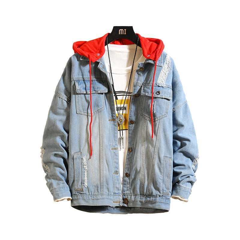 PUNK HOODED DENIM JACKET