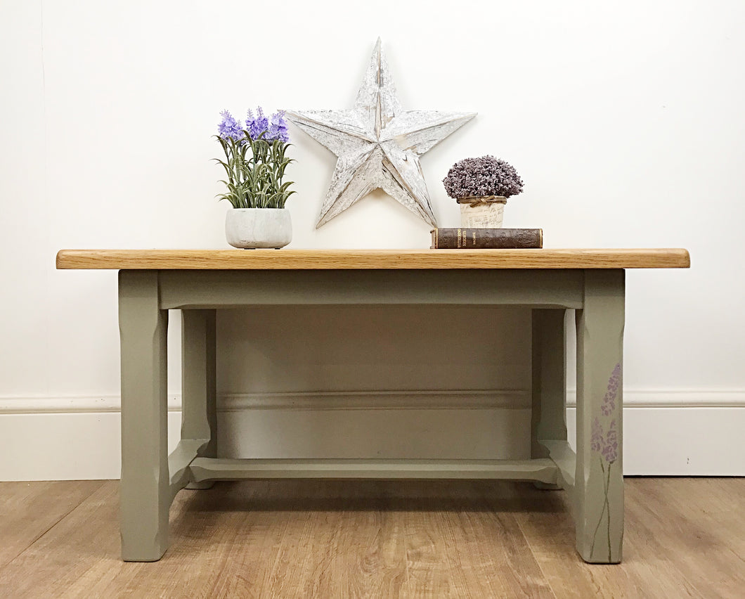 Brown / Grey Rectangular Coffee Table with Lavender Stencil Detail