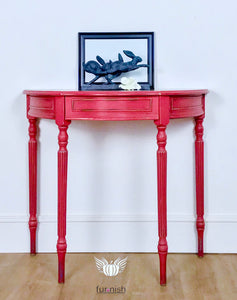 Red Regency Style Demi Lune Table