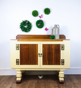 G Plan Sideboard with Decoupaged Cow Interior