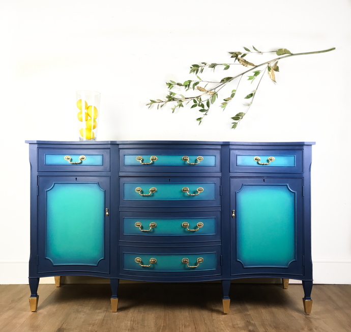 Hand Painted Brights Of Nettlebed Sideboard / Drinks Cabinet in Blue, Green & Gold