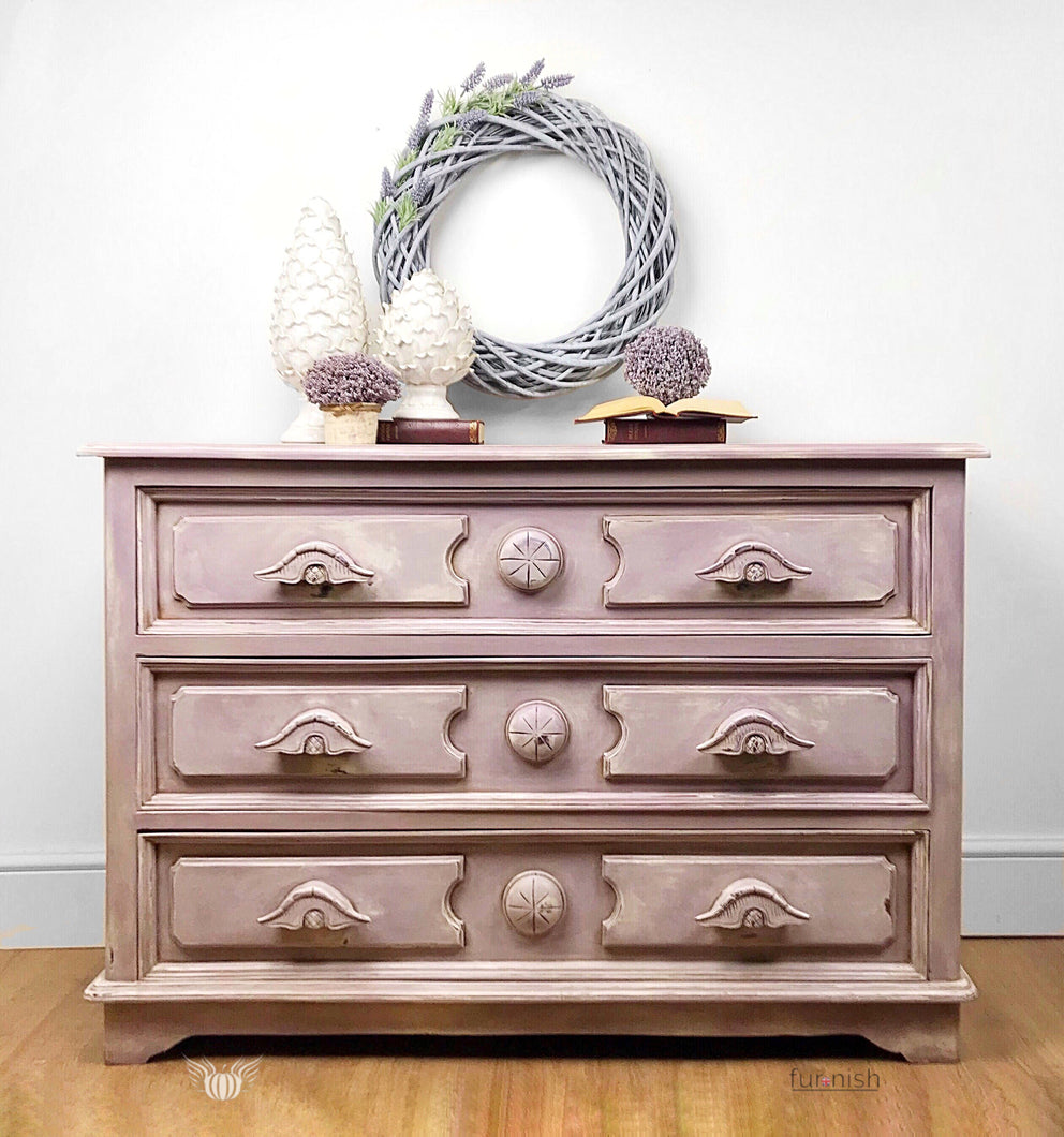 Pink / Purple / Off White Vintage Chest of Drawers