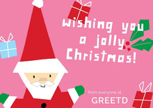 Load image into Gallery viewer, Personalised Business Pink Christmas Card - Santa