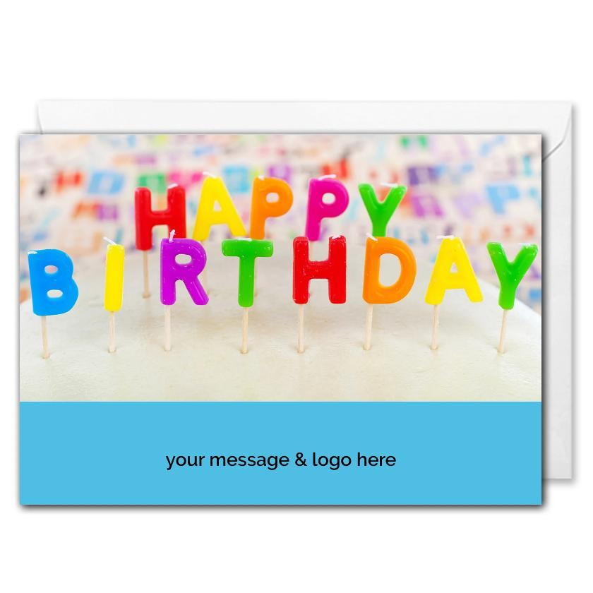 Birthday Candles Card For Business - Custom Logo