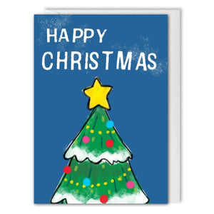 Personalised Blue Christmas Tree Card For Business