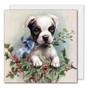 Vintage Boston Terrier Dog Christmas Card