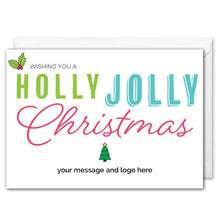 Load image into Gallery viewer, Holly Jolly Christmas Card For Business Custom Logo