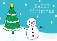 Load image into Gallery viewer, Personalised Business Christmas Card - Snowman, Christmas Tree