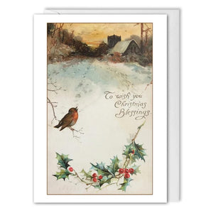 Custom Vintage Christmas Card For Business