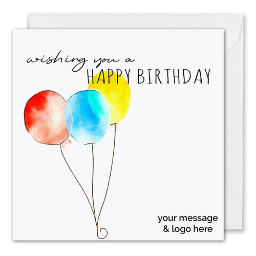 Personalised Corporate Birthday Card Three Balloons