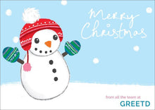 Load image into Gallery viewer, Mittens Snowman B2B Merry Christmas Card Custom