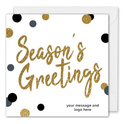 Custom Business Season's Greetings Card Gold Glitter