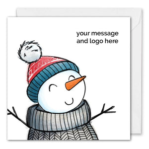 Personalised Logo Snowman Christmas Card Corporate