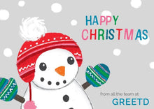Load image into Gallery viewer, B2B Christmas Card - Happy Snowman - Custom Logo