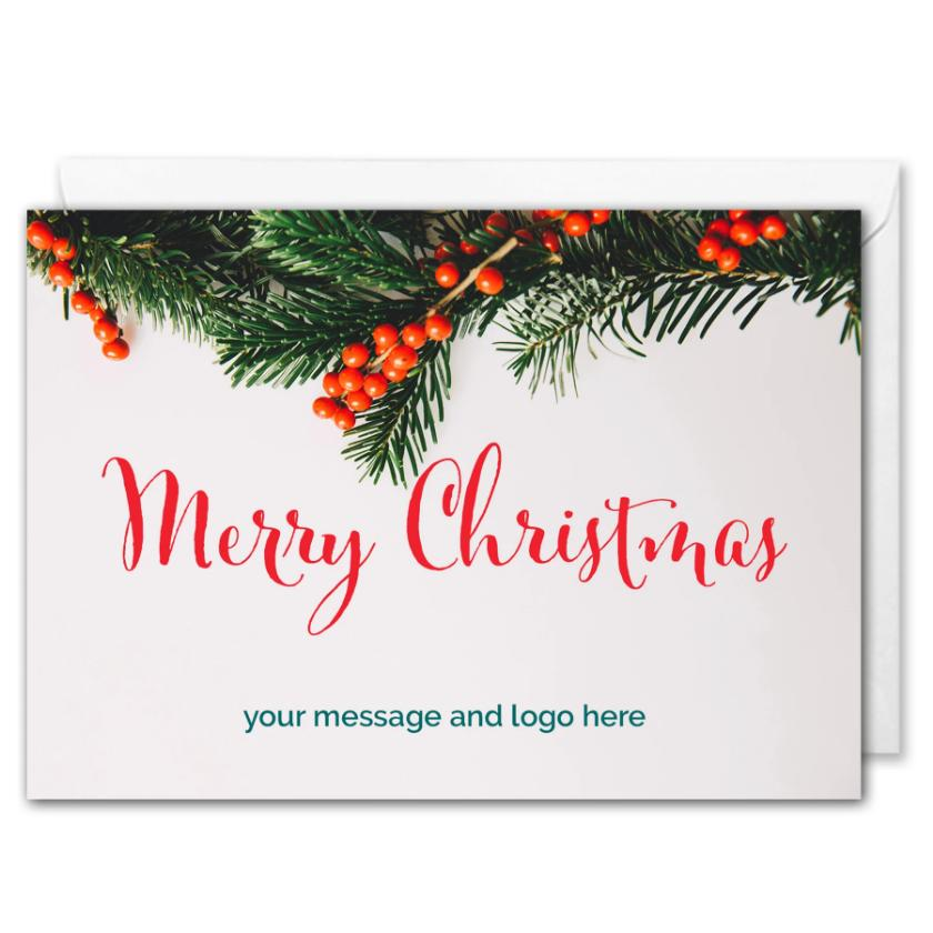 Merry Christmas Card For Business - Custom Logo, Message