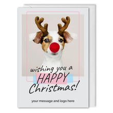 Load image into Gallery viewer, Happy Christmas Card - For Employees, Customers - Rudolph Dog
