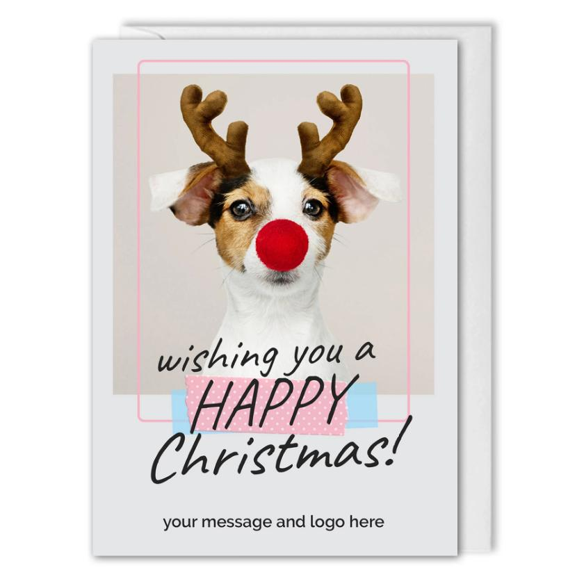 Happy Christmas Card - For Employees, Customers - Rudolph Dog