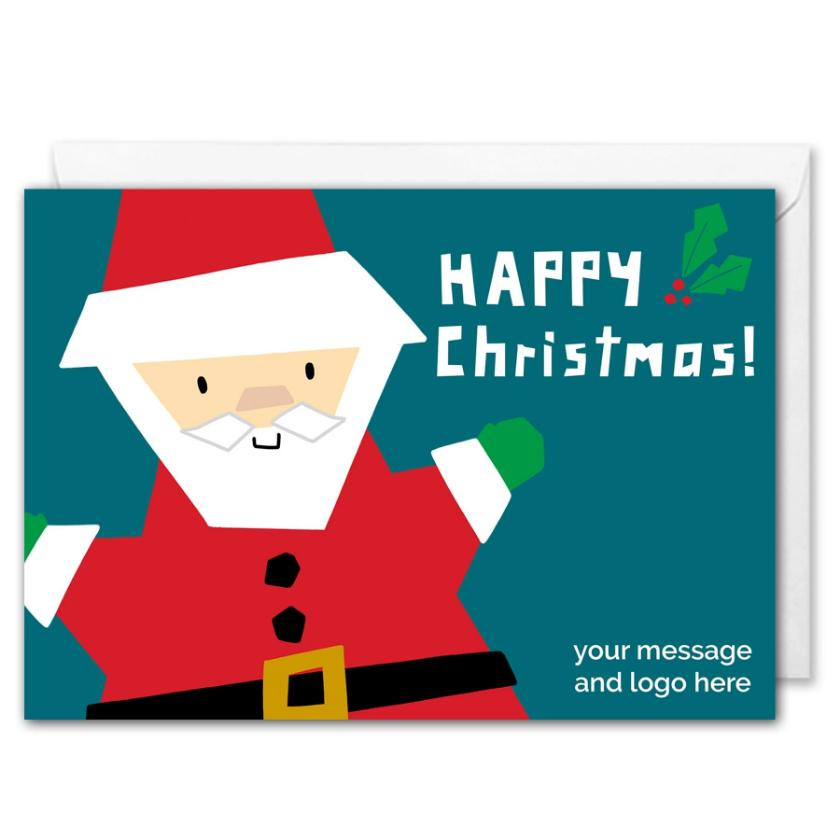 Santa Custom Business Christmas Card Green