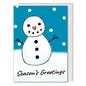 Snowman Blue Christmas Card For Business