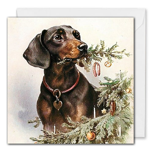 Business Christmas Card Vintage Dachshund