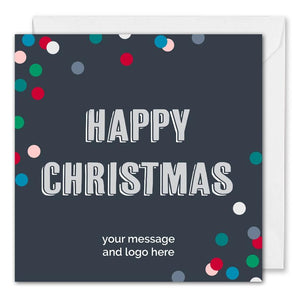 Business Happy Christmas Card - Blue Dotty