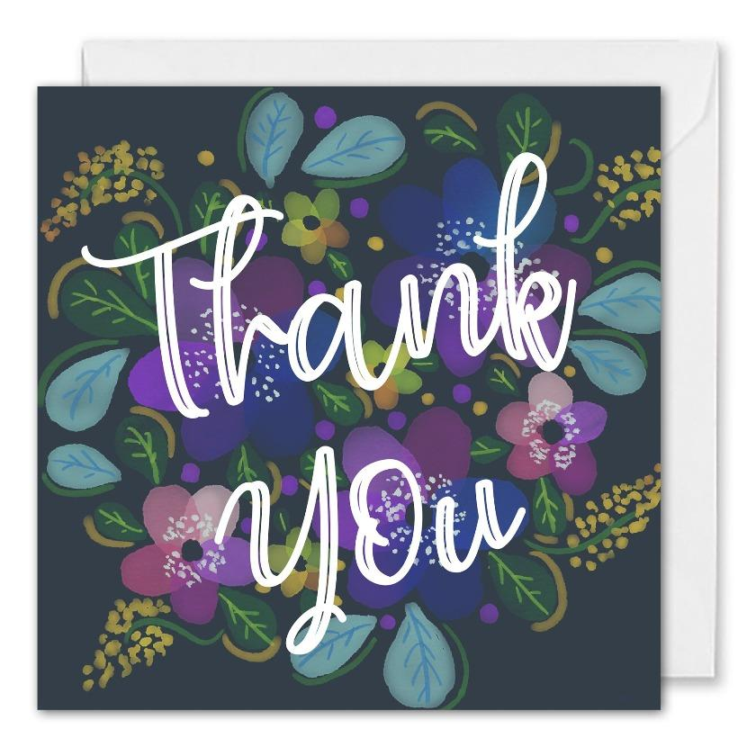 Custom Corporate Thank You Card Floral Blue